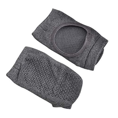 MAJFK Calcetines de yoga antideslizantes para yoga, pilates, para mujer, antideslizantes, con puntera completa, para evitar caídas, con agarre, para entrenamiento, danza, color gris oscuro