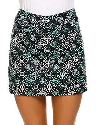 Ekouaer Skort Active Performance Lightweight Skirt for Women Gym Sports Comfy Fitted Short Green Flower