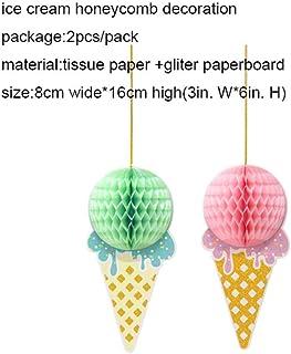 Decoración De Papel Ice Cream Party Honeycomb Ice Cream Cone Hanging Decoration Kids Birthday Party Summer Baby Shower Girl, 2 Piezas