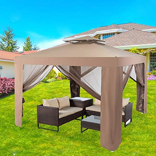La fete 10 x 10 2 Tier Roof Outdoor Patio Fully Enclosed Gazebo Canopy Tent with Netting Canopy product image