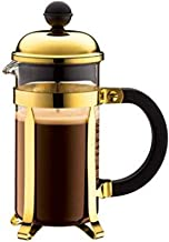 Bodum Chambord kaffebryggare 3 koppar med metallram, krom, guld, 7,5 x 13,5 x 18,9 cm