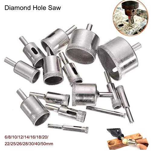 HYY-YY Drill 6-50mm 15Pcs Diamond Hole Saw Drill Bit Set 100 Grits Tile Ceramic Glass Marble Drill Bits Drill Accessories