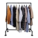 OROPY Industrial Pipe Garment Rack Free Standing, Heavy Duty Detachable Clothes Rail with 4 Stable Feet for Clothing Storage Display, Black