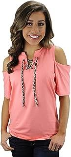 Sunshine&Rodeos JP Cheetah Leopard Lace up Top Open Shoulder Short Sleeve Shirt Pink