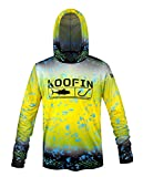 KOOFIN GEAR Performance Fishing Hoodie UPF 50 Sunblock Shirt Long Sleeve Quick-Dry Loose Fit Fade Pattern,Yellow,X-Large