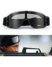 Fietsbril, motorbril, verstelbare airsoft-bril, legerstijl, winddicht, uv-400-bescherming, 3 verwisselbare lenzen, beslaat niet en krasbestendig, in een camo-hoes.