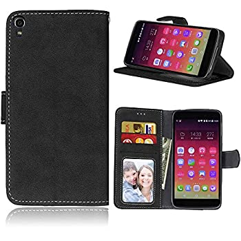 Alcatel One Touch Idol 3 5.5  Case SATURCASE Retro Frosted PU Leather Flip Magnet Wallet Stand Card Slots Protective Case Cover for Alcatel One Touch Idol 3 5.5   Black