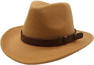 WUNONG-AU 2019 Men's and Women's Autumn and Winter Fedora Hat Couple Dating Outdoor Humboldt Travel Woolen Hat Wide Side Jazz Cap (Color : Khaki, Size : 56-58)