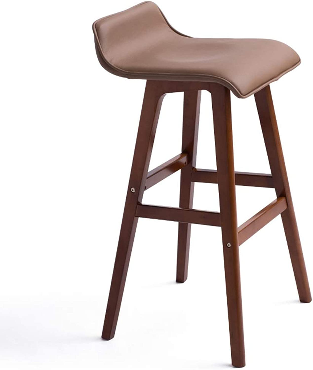 POOL Counter Height Bar Stool, Bent Wood Upholstered Modern Dining Bar Stool Chair with Low Back for Dining Room, Kitchen, Bar Counter ,65CM (color   Leather)