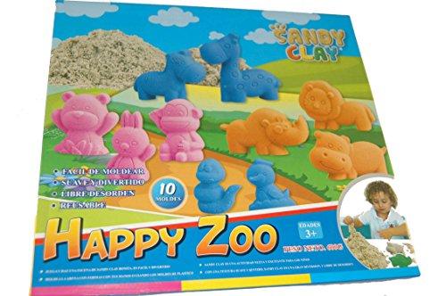 Sandy Clay - Happy Zoo - Juego de Moldear Arena - Animales de Colores en Arena Moldeable - 3x200 g - 10 Moldes - Actividad Creativa