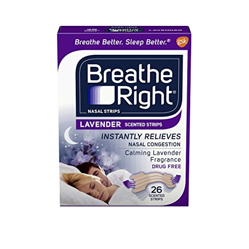 Breathe Right Calming Lavender Scented Drug-Free Nasal Strips for Nasal Congestion Relief, 2 Packages (26 count)