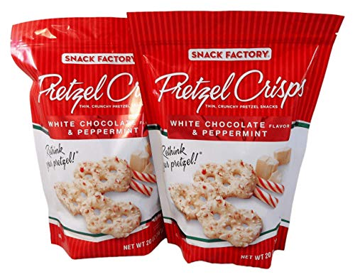 Snack Factory Pretzel Crisps Peppermint Peppermint/Chocolate/White Chocolate 125 Pound Pack of 2 40 Ounce