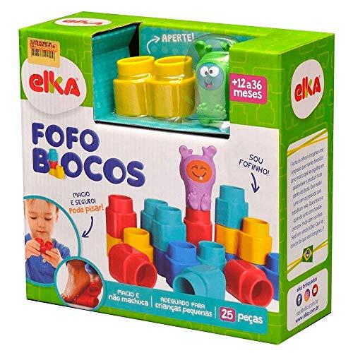 Brinquedo para Montar Fofo Blocos 25 Peças, Elka, Multicor