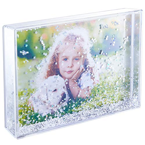 zgrmzql Glitter Picture Frame Personalized Floating Liquid Snow Globe Photo Gifts for Best Friends Couples (Star(4''x6'') Black Box)