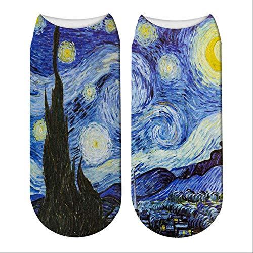 QXCWZ 3 Pares Calcetines Clásicos De Pintura Al Óleo Calcetines Impresos En 3D Calcetines De Mujer Van Gogh Calcetines De Girasol Cielo Estrellado Calcetines Casuales De Corte Bajo 2
