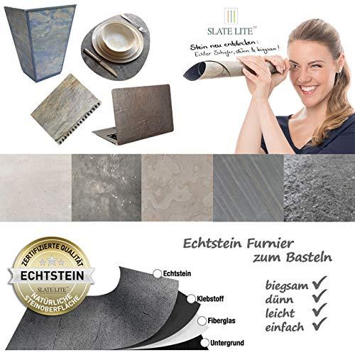 Bastelstein-Platten ECHTER SCHIEFER Naturstein-Furnier - dünn, flexibel, leicht - 30 x 60 cm in BETON DUNKEL Asphalt Imitat