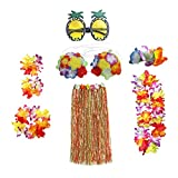 Yililay 8 UNIDS Bailer Hawaiano HUMA Hula Falda SITION Set ELASTICE HAWAIAN Luau Set de Disfraces para favores de Fiesta Multicolor