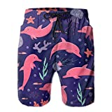 Pink Dolphins and Jellyfish Beach Shorts for Men Quick Dry Mens...