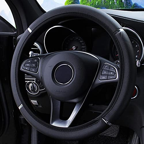 Car Steering Wheel Cover, Non-Slip, Elastic, Steering Wheel Cover for Men and Women, Universal Fit 15 Inches Cars, Vehicles, SUVs (Black)