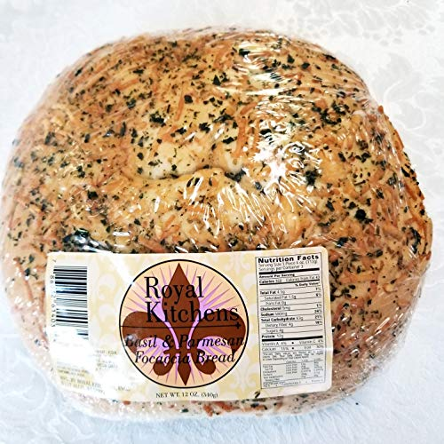 Fresh Basil & Parmesan Focaccia 3 Pack of Individually Wrapped 12 oz Italian Flatbreads by Royal Kitchen (Total of 36 oz)