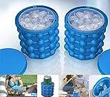 Nifogo Ice Genie, Eisbehälter Silikon mit deckel, 2in1 Funktion Eiswürfelformen Eiseimer mit Deckel,Saving Ice Cube Maker Eiswürfelbereiter für Bier Cocktails Whisky(1 Stück)