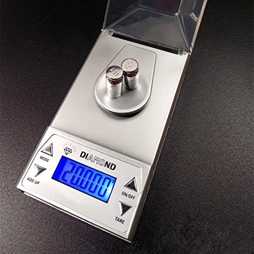Iuhan Jewelry Scale, 50g/0.001g Electronic Digital LCD Display Scale Portable Pocket Jewelry Scale (Silver)
