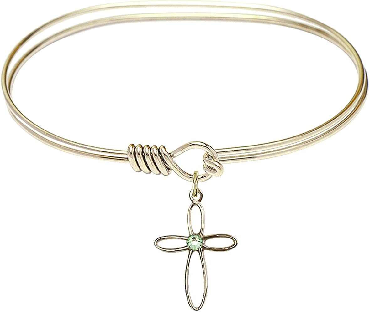 DiamondJewelryNY Eye Hook Bangle Bracelet with a Loop Cross Charm.