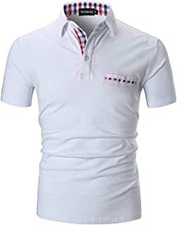 YCUEUST Homme Coton Lattice Polo Casual Basic Tennis Golf Poloshirt