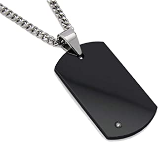 Metal Masters Co. Men's Black Tungsten Carbide Dog Tag with Real Diamond 24
