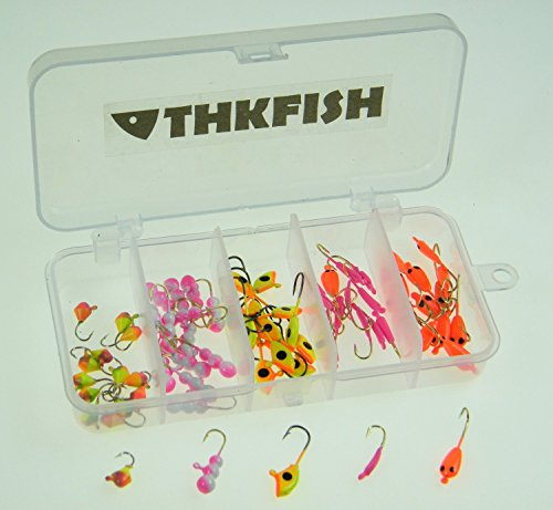 70Pcs 0.75g 0.5g 1.24g THKFISH Ice Fishing Ant Drop Jig Head Single Hooks Fishing Lures by thkfish