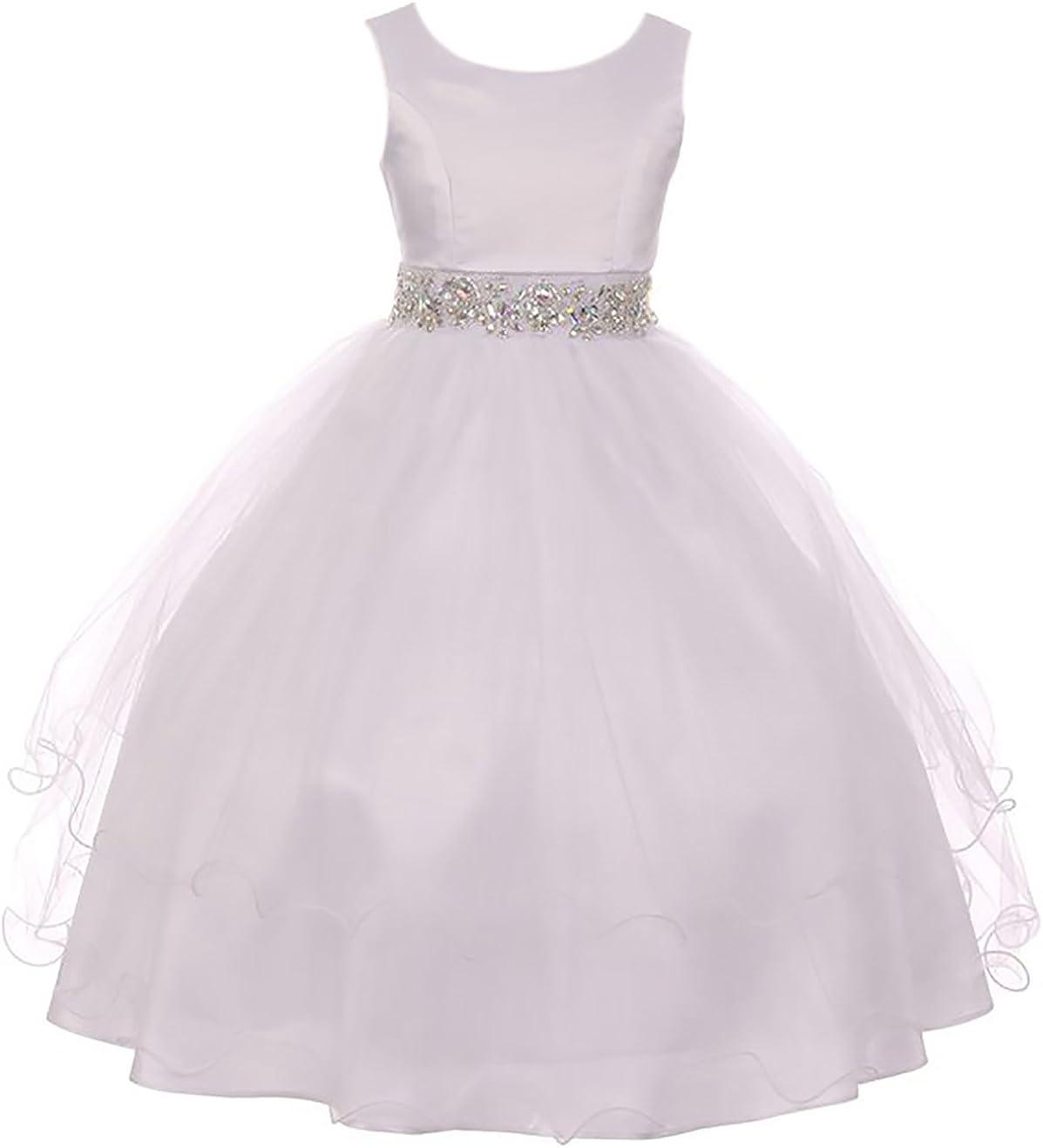 BNY Corner Sleeveless Rhinestone Formal First Communion Flower Girl Dress 6-20