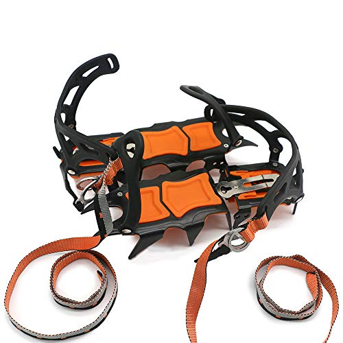 Roeam 14 Teeth Ice Crampons Winter Snow Boot Shoes Ice Gripper Anti-Skid Ice Spikes Snow Traction Cleats Outdoor Camping Hiking Mountaineering Ice Climbing Snow Claws