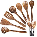 Wooden Kitchen Cooking Utensils with Holder,Teak Wooden Spoons and Spatula for Cooking, Sleek, Solid...