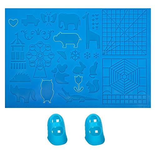 """3D Pen Mat, 16.34"""" x 11.02"""" Inches 3D Printing Pen Silicone Design Mat, 3D Drawing Stencils Basic Templates for Kids and Adults"""
