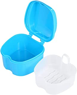 Onwon Denture Case, Denture Cup with Strainer and Lid - Retainer Cleaning Soaking Cup - Denture Bath Box False Teeth Storage Box with Basket Net Container Holder for Travel
