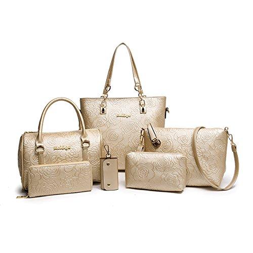 Tisdaini® Damen handtaschen Mode Prägung Schultertaschentasche Set 6 Stuck Shopper Umhängetaschen Brieftasche Golden