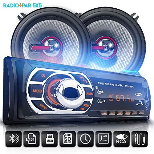 Kit Som Auto Radio Bluetooth Mp3 Usb + 2 Falantes 5 Pol 110W RMS
