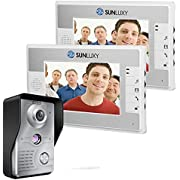 "SUNLUXY 7"" Zoll LCD Video Türsprechanlage Türklingel 2 Monitor mit IR Kamera Video Tür Telefon Intercom-Funktion Nachtsicht"