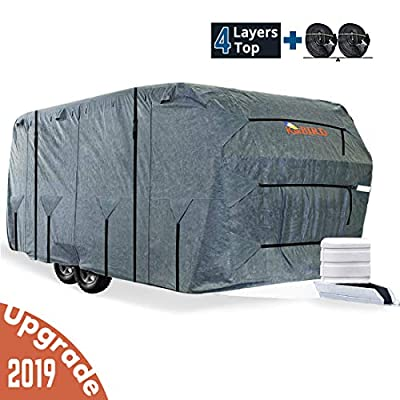 KING BIRD Extra-Thick 4-Ply Top Panel & 4Pcs Tire Covers Deluxe Camper Travel Trailer Cover, Fits RV Cover -Breathable Water-Repellent Rip-Stop Anti-UV with Storage Bag