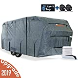 KING BIRD Extra-Thick 4-Ply Top Panel & Extra 2Pcs Reinforced Straps, Deluxe Camper Travel Trailer Cover, Fits 20'- 22' RV Cover -Breathable Water-Repellent Anti-UV with Storage Bag&Tire Covers