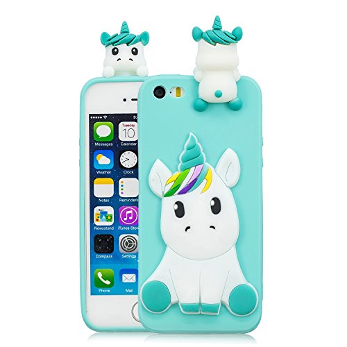 HUDDU Einhorn Handyhülle iPhone 5S Silikon Hülle Motiv 3D Karikatur Muster Schutz Handyschale Weiche Silikon TPU Tasche Case Cover Ultra Dünn Schutzhülle Apple iPhone 5S - Hellblau