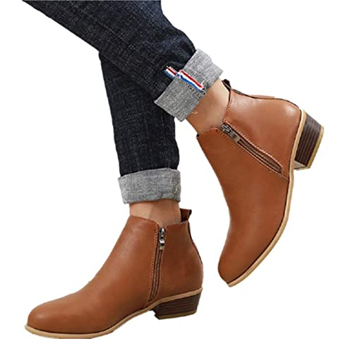 35b424c6cd9a Ankle Boots Women Flat Heeled Winter Block Heel Suede Leather Chelsea  Ladies Chunky Casual Comfortable Zip