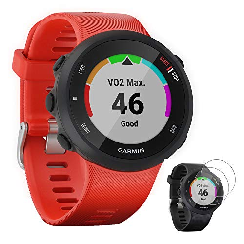 Garmin 010-N2156-06 Forerunner 45 GPS Heart Rate Monitor Running Smartwatch (Lava Red) - (Renewed) with Tempered Glass Screen Protector