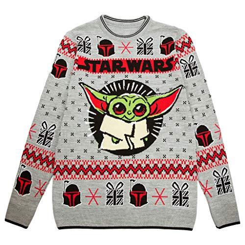 Star Wars The Mandalorian El niño Puente de Punto para Hombres Multicolor L | Yoda bebé, Navidad del Puente Feo suéter Fair Isle de Navidad Ideas de Regalos para Hombre Ropa