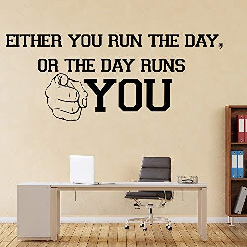 Tianpengyuanshuai Führen Sie einen Tag Wandaufkleber inspirierende Zitate Schriftzug Wandtüren Fenster Vinyl Aufkleber Wohnzimmer Büro Dekoration 111x273cm