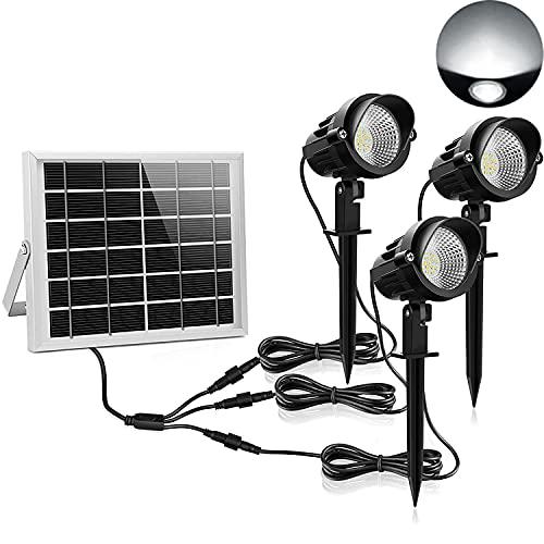 MEIKEE Spot LED Solaire Exterieur 3 en 1 Lampe à Piquer avec Panneau Solaire Puissant 6V 3W, Etanche IP66, 6000K Blanc Froid, Lumière Exterieur Solaire Idéal pour Chemin, Pelouse, Terrasse