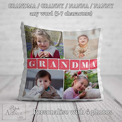 unknow GRANDMA PHOTO Cushion Grandma Personalised Birthday Gift Best Grandma Photos Pillow Cover Nanna Gran Nanny Granny Birthday Present Nan Nannie Nana