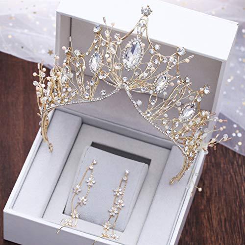 Beaupretty kit de pendientes de tiara de joyería de boda de corona...