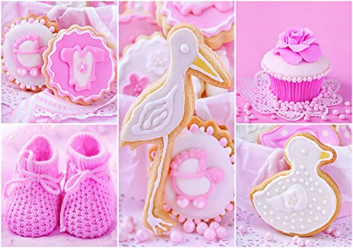 Welt-der-Träume Fototapete Tapete Wandbild Babyschuhe und rosa Cupcakes | P4 (254cm. x 184cm.) | Photo Wallpaper Mural 10445P4-MS | Essen Süßigkeiten Kuchen Bonbon Konditorei