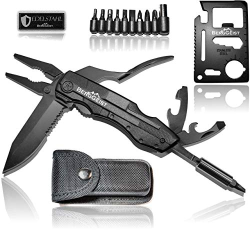 BERGGEIST® Multi-Tool Survival Taschenmesser Set aus Edelstahl | Klappmesser & Zange | Inklusive EDC Kreditkartenmesser | All in One | [2020]